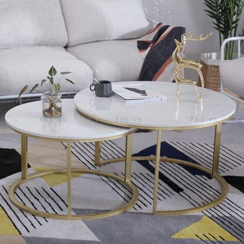 Bàn sofa đôi mặt đá marble trắng C1