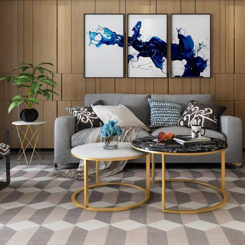Bàn sofa đôi mặt đá Marble trắng đen – C2