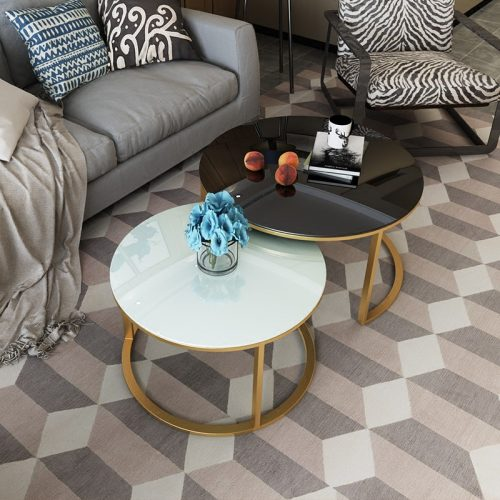 Bàn sofa đôi mặt kính cường lực 8ly – C3
