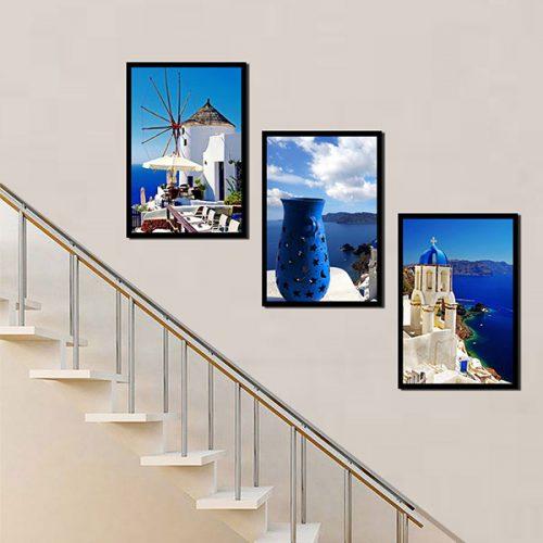 Tranh treo cầu thang đảo Santorini Hy Lạp
